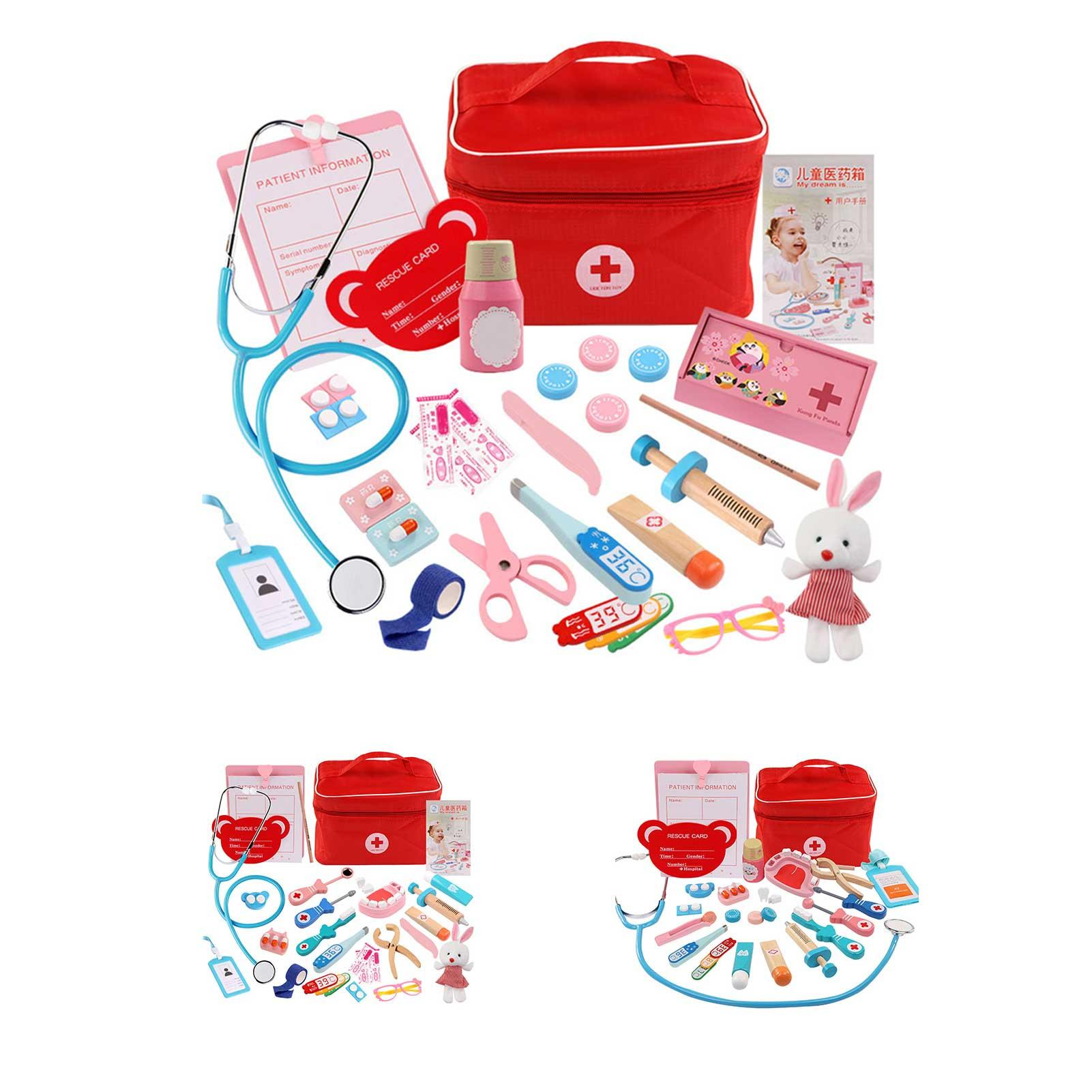 Kids Wooden Simulation Girl Doctor Nurse Stethoscope Medical Kit Play House Toy