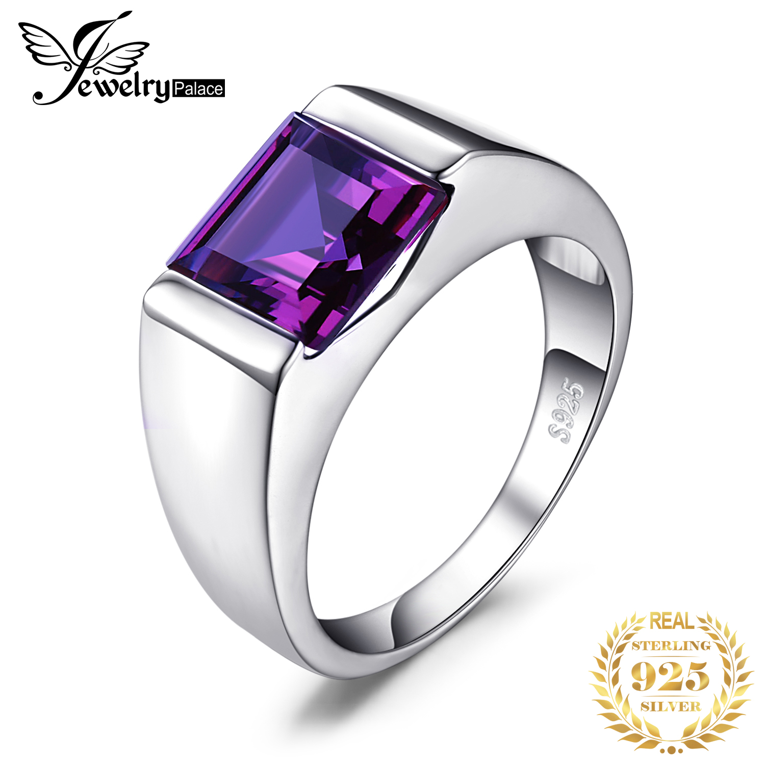 JewelryPalace Men's Square 3.3ct Created Alexandrite Sapphire 925 Sterling Sliver Ring For Men Fine Jerwelry Fashion Style