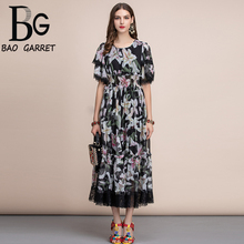 Baogarret Holiday Summer Dress Womens elastic Waist Ruffles Vintage Black lily Flower Print Lace Patchwork Midi