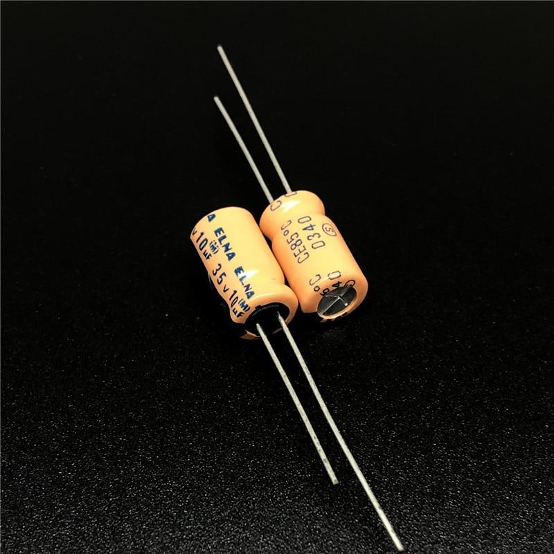 10pcs/100pcs 10uF 35V ELNA 6.3x11mm Orange 35V10uF Audio Capacitor