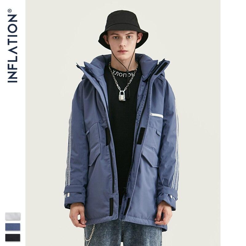 INFLATION 2019 Winter Men Long Down Jacket 90% White Duck Down Men Long Coat Hood Warm Winter Male Outwear Parkas пуховик 9761W
