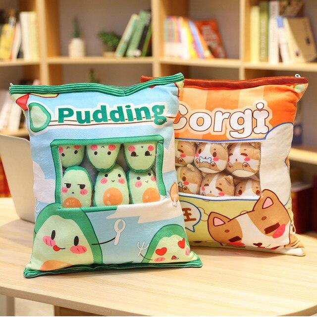 Dessin animé animaux pouding sac jouet en peluche 8 Mini boules Animal poupée lapin avocat pingouin Hamster coussin accessoires Plushie cadeau