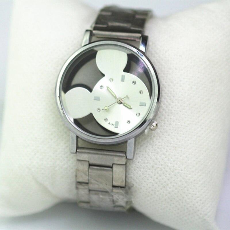 Hodinky мода новинка полый Микки часы женщины роскошь серебро нержавеющая сталь кварц часы девочка мальчик лайк подарок relojes