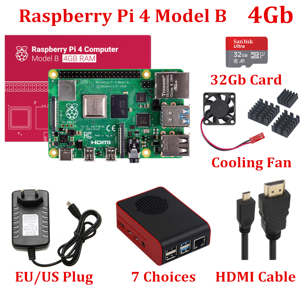 New Raspberry Pi 4 Model B 4GB RAM With Cooling Fan Official Raspberry Pi Case 32Gb Card HDMI Cable 5V3A Power Supply For RPi 4