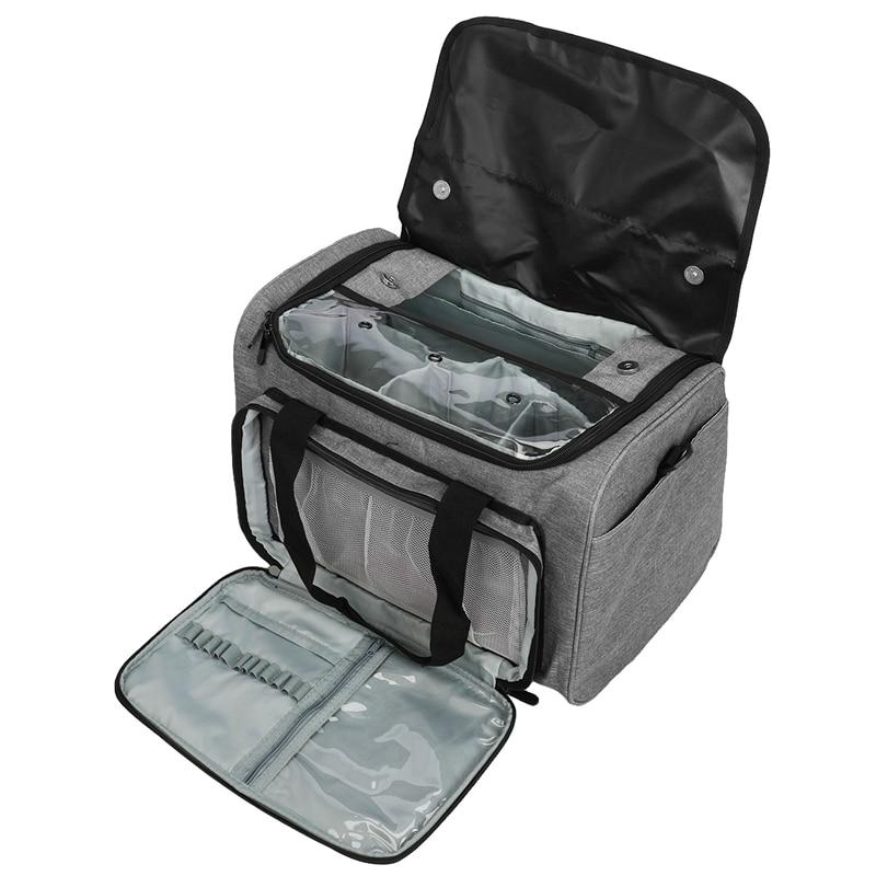 Örgü çanta iplik depolama organizatör Tote çanta ile kapak ve iç bölücü projeler için yuvarlak ve düz örgü İğneler Cr title=