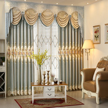 Luxury Home Decor Curtains European Pastoral Chenille for Living Room Woven Valance Embroidery Curtain Tulle