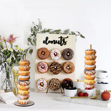 Ahşap Donuts duvar ekranı standı tutucu-şeker tatlılar çörek rafı parti için