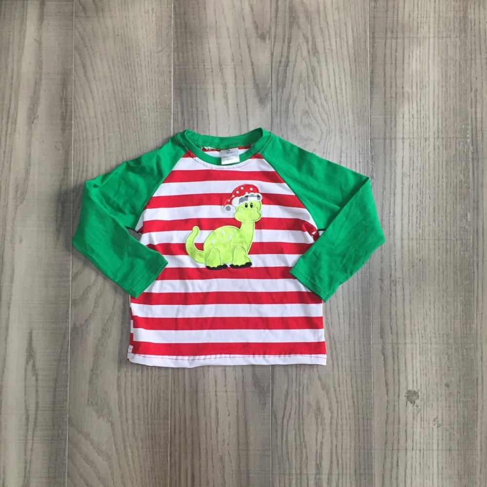 Girlymax Fall/winter baby boys children clothes boutique cotton top t-shirts raglans outfits stripe dinodaur long sleeve 1