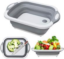 Katlanır kesme tahtası meyve sebze yıkama drenaj lavabo depolama sepeti katlanabilir bulaşık küvet kesme tahtası kevgir mutfak aracı