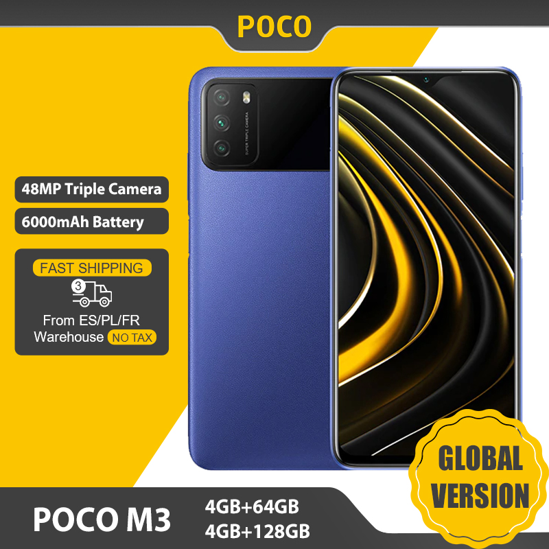 POCO M3 – Smartphone, Version globale, 4 go 64 go/128 go, Snapdragon 662, écran 6.53 pouces, batterie 6000mAh, caméra 48mp