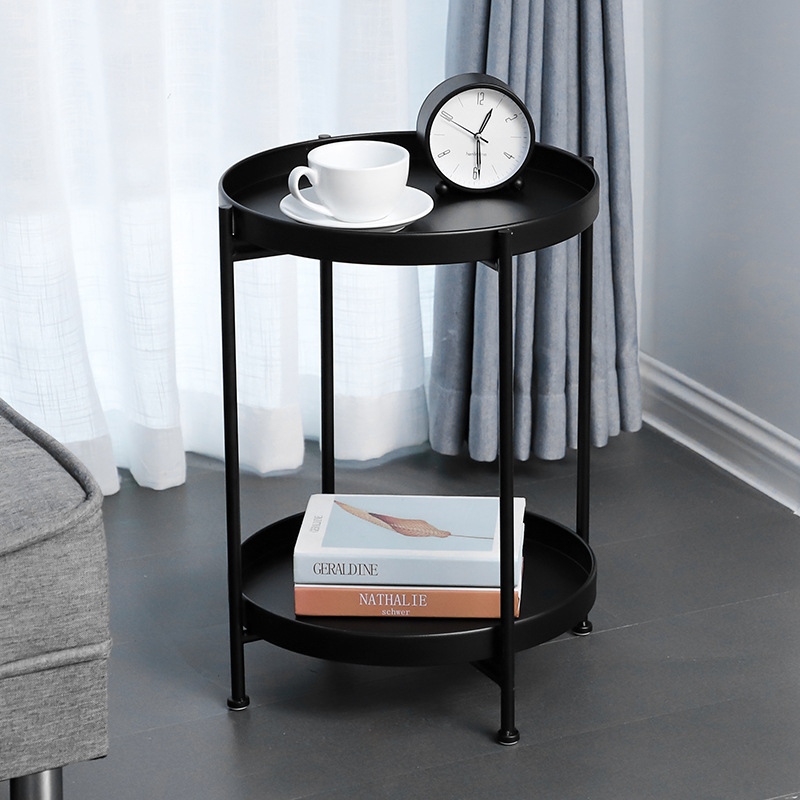 Industrial Style Round Double Layers Folding Handmade Removable Retro Tea Coffee Table For Living Room