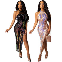 Echoine women sexy Two Piece Sets Backless Sequin Embroidered maxi Dress female party see through sleeveless bodysuit ladies flower embroidered sleeveless maxi dress