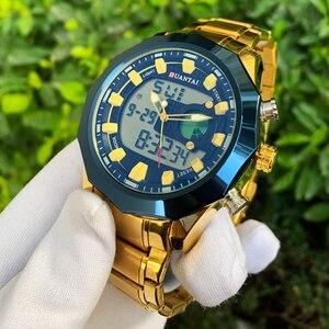 Image 2 - DUANTAI Big Dial Watch Mens Sport Watch Stainless Steel Quartz Back Light Golden Wristwatch Dual Display