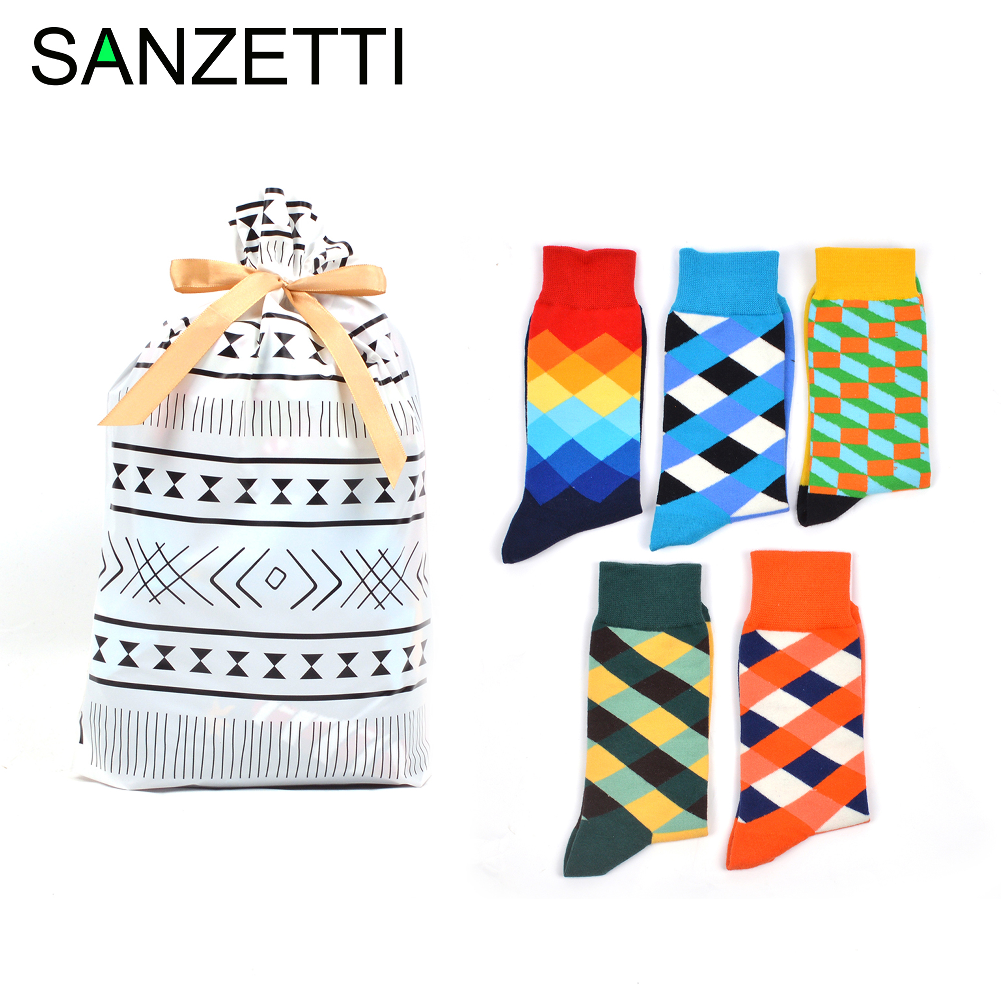 SANZETTI 5 Pairs Men's Combed Cotton Socks Geometric Pattern Sport Funny Hip Hop Colorful Wedding Exquisite Gift Bag Gift Socks