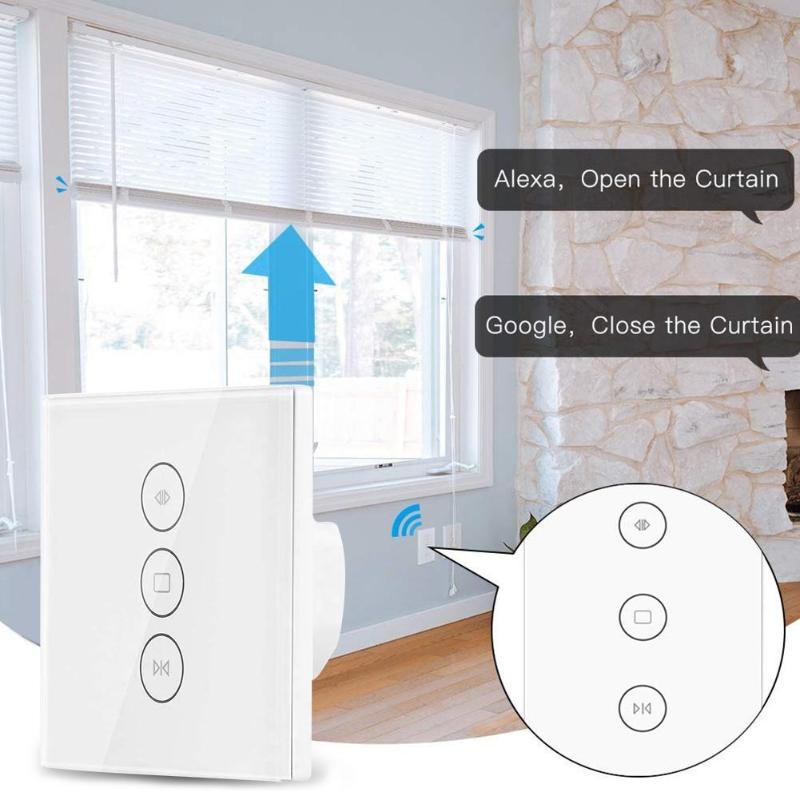Smart WiFi Switch For Electric Curtain Roller Shutter Work With Amazon Alexa Touch Control Tempered Glass-Ceramics Panel