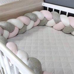 Домашний декор, 1 м, бампер для девочки, косичка с узлом, мягкая подушка, бампер для младенцев, детская защита для кроватки, бампер для детской...