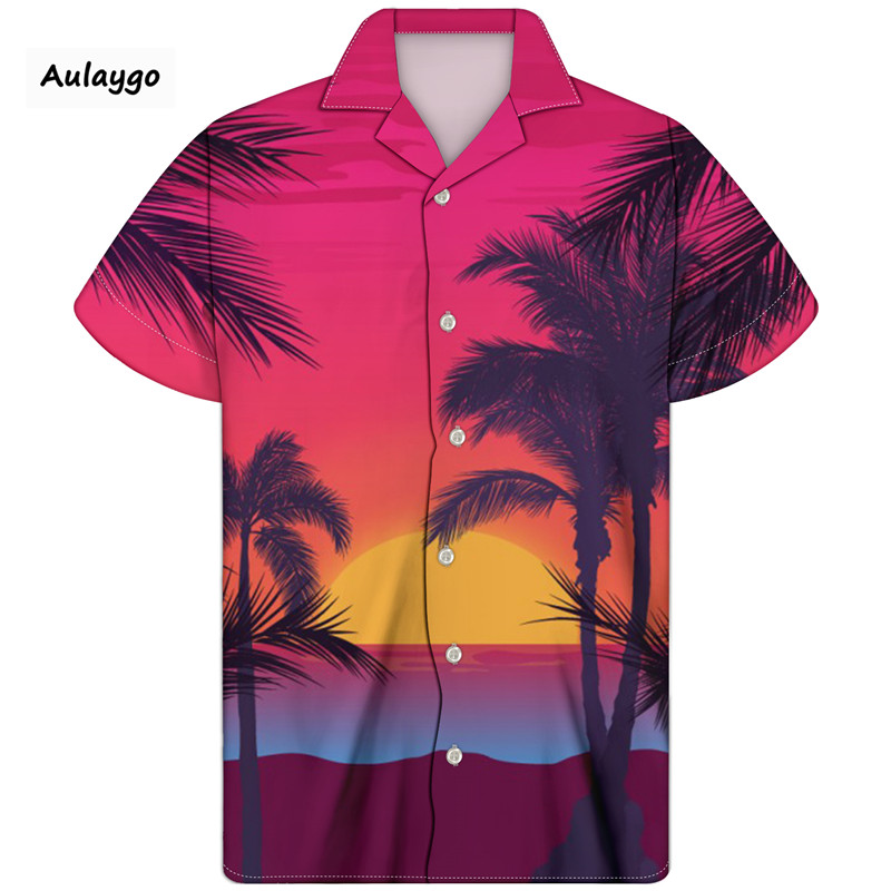 Cuban Collar Hawaiian Beach Shirts Palm Trees And Sand Print Mens Casual Streetwear 2020 Summer Short Sleeve Clothing Camisas