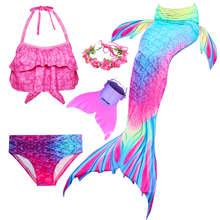 Детский купальный костюм для девочек с принтом Русалочка, Моноласты, хвосты для купания Детские костюмы для плавания хвост русалки с рисунк...