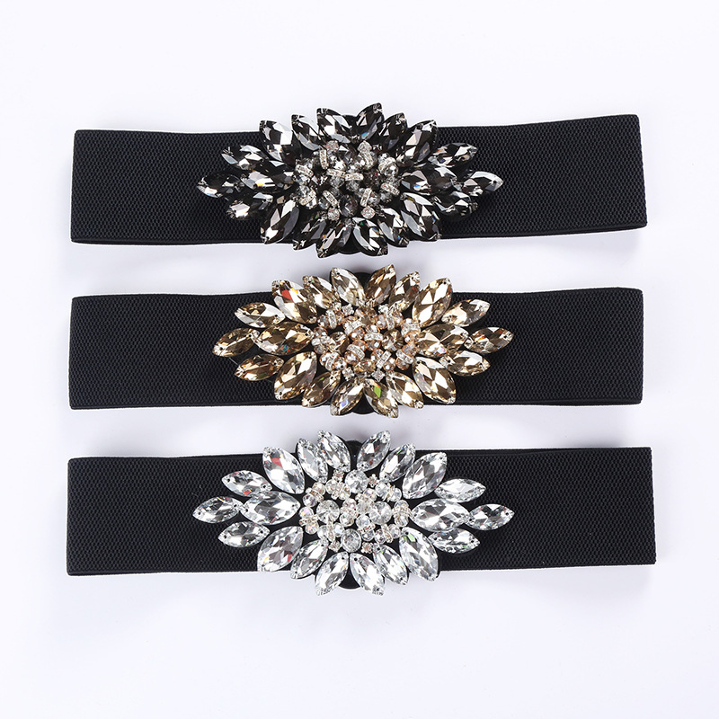 2019 New Arrival Designer Luxury Crystal Elastic Women Wide Belt With Rhinestone Elegant Belts For Women High Qualit SD232