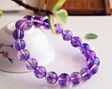 9.6mm Genuine Natural Purple Rutilated Quartz Super Seven 7 Crystal Round Beads Bracelet Women Men AAAAAA Certificate