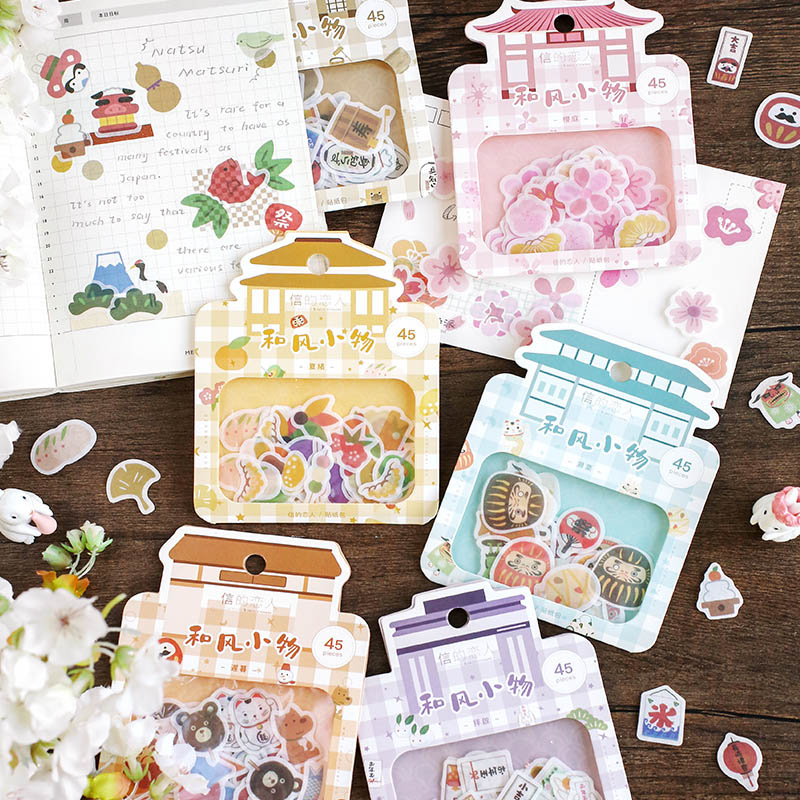 45Pcs Kawaii Cartoon Stickers Cute Decor Stationery Stickers Paper Adhesive Sticker For Kids Scrapbooking Diary Supplies