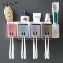 Modern Plastic Toothbrush Holder Toothpaste Storage Rack Tooth Brush Dispenser Wall Mount Squeezer Bathroom Tool Set