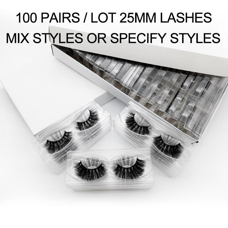 25mm Mink Lashes Wholesale 20/30/40/50/100 Pairs Bulk 3d Fluffy Long False Eyelashes Dramatic Handmade Fake Cilios Makeup