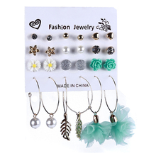 Hot Earrings Set Fashion Flower Love Pearls More Pairs Of Small Suit Popular Jewelry Ball