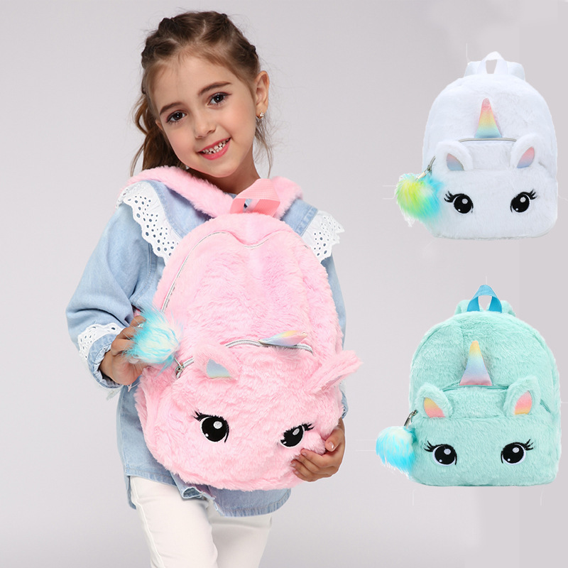 Kid Soft Unicorn Plush Bag Girl Mini Faux Fur Unicorn Backpack Cute Children Zipper Schoolbag Toy Doll Backpack For Kidergarten