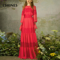ESHINES High End Vintage Red Lace Patchwork Dress Autumn Lantern Sleeve Hollow Out See Through Lace Up Sashes Loose Hem Dress
