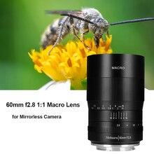 7 artesanais 60mm f2 Lente de foco macro manual APS C, 8 para sony e mount canon eos rf EF M fuji m43 nikon z câmera sem espelho