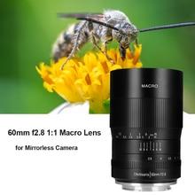 7artisans 60mm F2. 8 수동 매크로 초점 렌즈 APS C sony e mount 용 canon eos rf EF M fuji m43 nikon z 마운트 미러리스 카메라