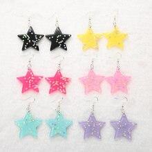 1 пара модные блестящие серьги подвески в форме звезды полимерная