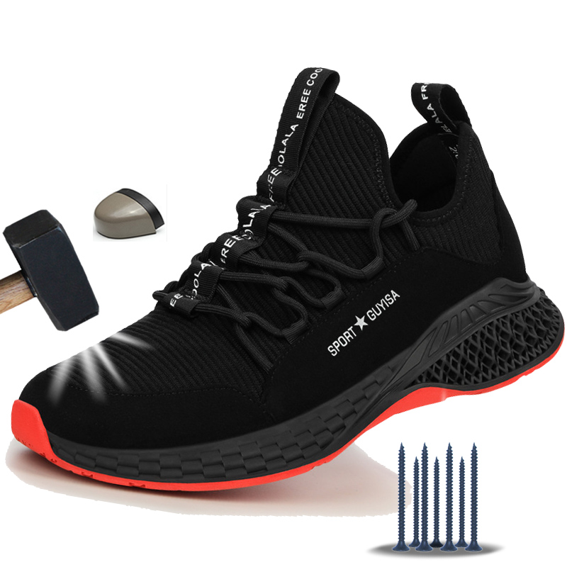 Manlegu Work Sneakers Indestructible Shoes Puncture-Proof Safety Shoes Work Safety Boot Breathable Steel Toe Air Safety Boots
