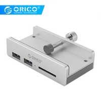 ORICO Clip Design USB 3.0 HUB with Card Reader Aluminum Alloy Clip-type 3 Ports High Speed Splitter Hub for Desktop Laptop