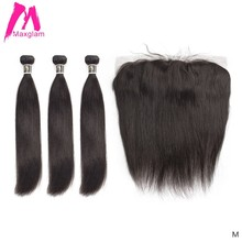 Insan saç demetleri ile frontal düz doğal brezilya saçı uzatma örgü önceden koparıp kısa remy siyah kadınlar için 3 demetleri