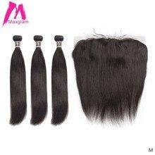 שיער טבעי חבילות עם פרונטאלית ישר טבעי brazillian שיער הארכת מארג preplucked קצר רמי עבור נשים שחורות 3 חבילות