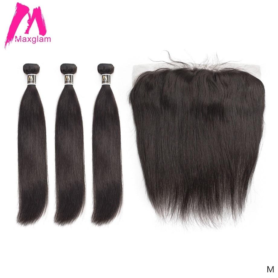 Straight Hair Bundles With Frontal Remy Brazillian Hair Weave Bundles Preplucked Short Long Human Hair Extension 3 Bundles