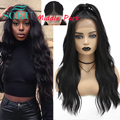 Synthetic Lace Front Wig Black Color Long Wavy Wigs With Baby Hair Middle Part Hair Ombre Brown Lace Wig For Black Women SOKU