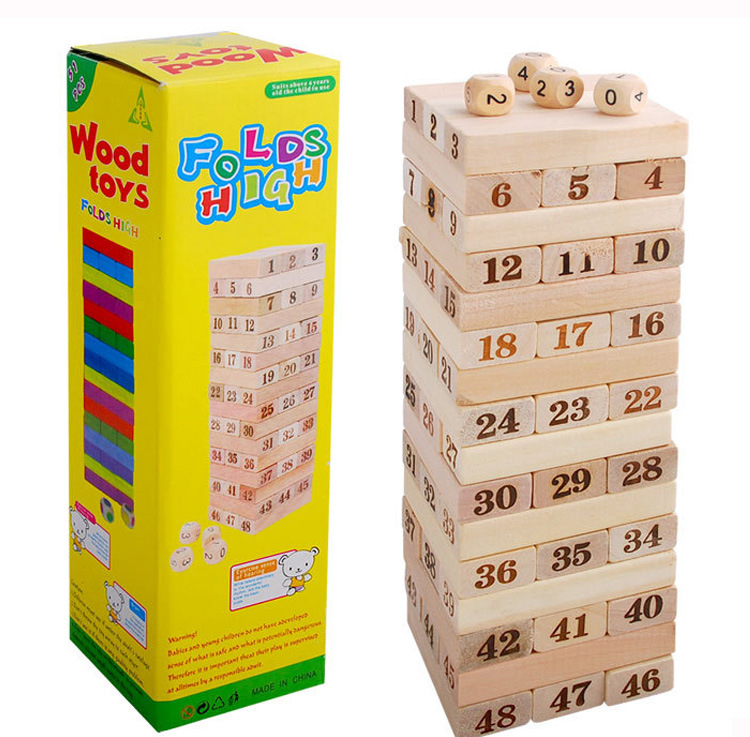 48 Grain Large Size With Numbers Stack-up Ddg01 Logs Building Blocks Bricks Pro Jenga Casual Wooden Toys 0