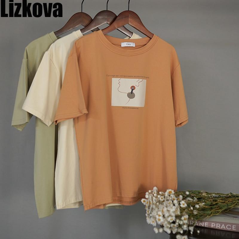 Lizkova Summer Cotton Tee Shirt Women Line Character Print Short Sleeve Casual TShirt Elegant O-neck Plus Size Tops
