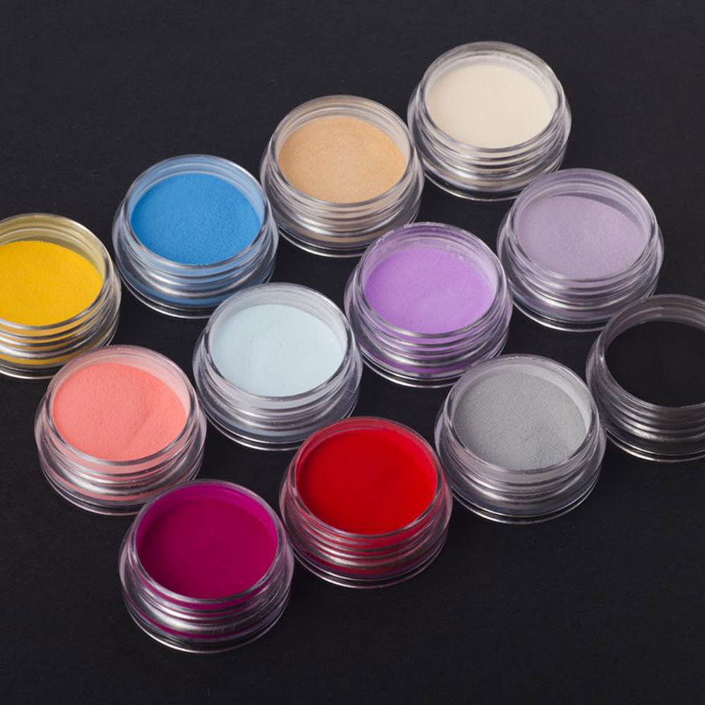 12Bottles/Set 12 Colors Nail Art Powder Dust UV Gel Design 3D Tips Glitter Builder Polymer Nail Acrylic Decoration Powder #GD12
