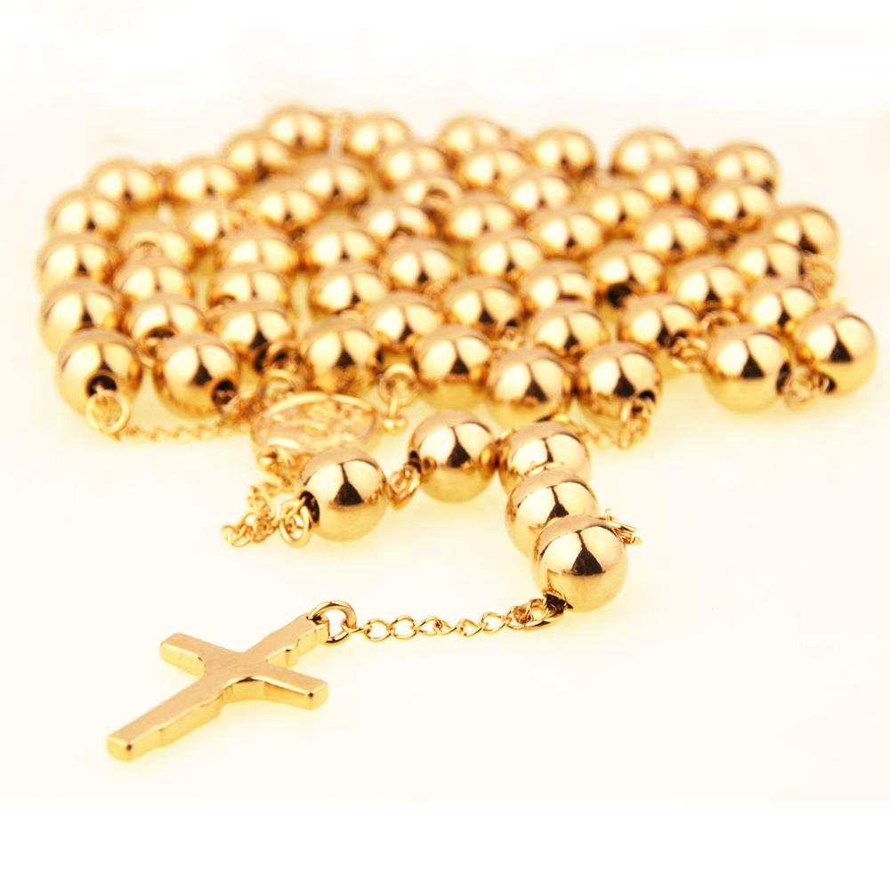 10mm Golden & Silver Stainless Steel Beads Rosaries Metal Rosary Round Necklace Catholicism Prayer Religious Jewelry