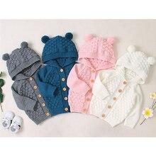 Коллекция года, осенне-зимняя одежда для малышей Однотонный свитер с капюшоном для новорожденных мальчиков и девочек Шерстяная трикотажная куртка в клетку с объемным рисунком детская верхняя одежда на возраст от 0 до 24 месяцев