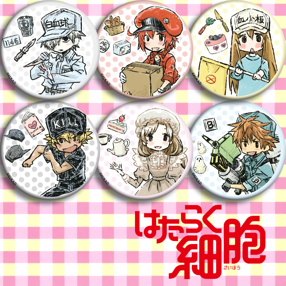 Japan Anime Cells At Work D 58mm Cosplay Badge Cartoon Collection Backpacks Badges Bags Button Brooch Pins Gift
