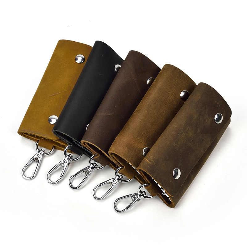 مدبرة المنزل جلد طبيعي مفتاح محفظة بحامل بطاقات للجنسين الصلبة الجلود المفاتيح المنظم حقيبة سيارة مدبرة المنزل المحفظة