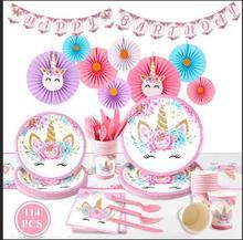 FENGRISE Unicorn Birthday Party Decoration Kids Girl Boy Baby Shower Decor Supplies