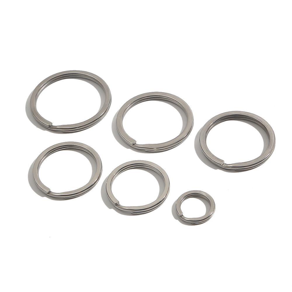 Брелок для ключей из нержавеющей стали, плоский раздельный брелок с родиевым покрытием, 10 шт./лот, 15 мм 25 мм 28 мм 30 мм 32 мм 35 мм