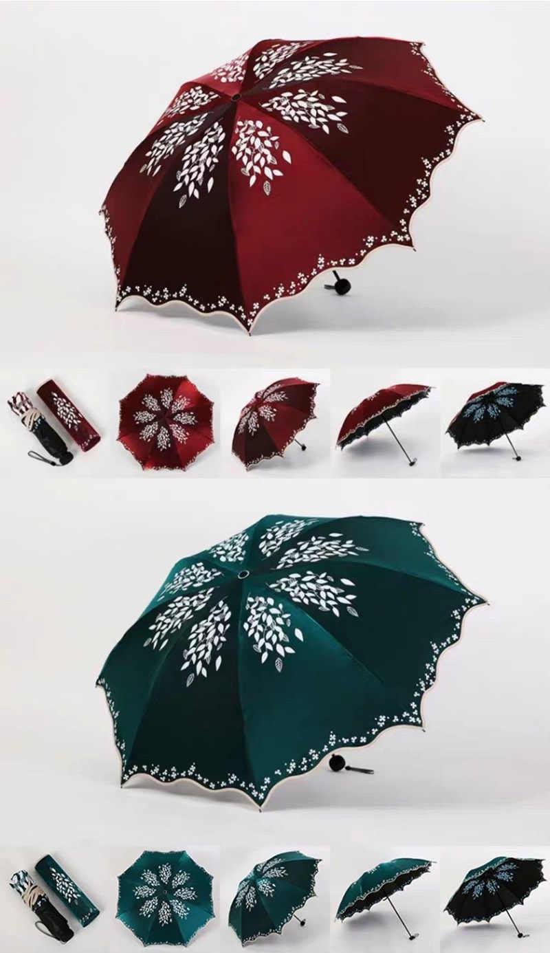 Qualidade sol guarda-chuva chuva moda feminina princesa folhas duplo guarda-chuvas feminino portátil criativo feminino presente