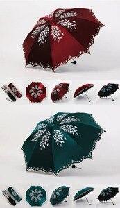 Image 5 - Quality Sun Umbrella Rain Women Fashion Princess Leaves Double Umbrellas Female Parasol Portable Creative Female Gift
